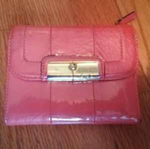 Coach shimmery coral medium wallet